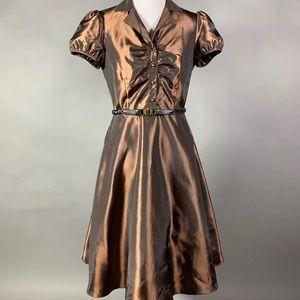 BCBG Shimmering Bronze Party Cocktail Dress